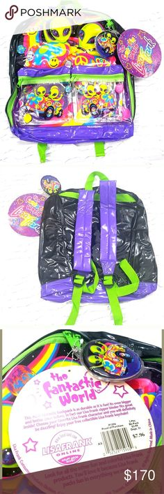 """NEW! Lisa Frank Alien Backpack 90s Rare Hard to find especially new with tags! Measurements laying flat Width: 14 """" Length: 16 """" lisa frank Bags Backpacks"""