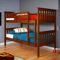 @Overstock.com - Twin/ Twin Espresso Finish Mission Bunkbed - Sleep safely while saving space on this durable espresso twin bed. Featuring a solid pine construction with an attractive cappuccino finish, this neat and simple twin bed meets and exceeds all ASTM and CPSC safety standards for a worry-free slumber.  http://www.overstock.com/Home-Garden/Twin-Twin-Espresso-Finish-Mission-Bunkbed/6796683/product.html?CID=214117 $385.60