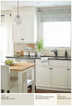 A modern farmhouse kitchen is painted light grey (Pale Oak by Benjamin Moore) for a timeless and versatile look. A Burst of Beautiful shares the perfect Modern Farmhouse Neutral Paint Colors for a cozy and inviting home Farmhouse Kitchen Curtains, Kitchen Valances, Farmhouse Kitchen Cabinets, Farmhouse Interior, Oak Cabinets, Modern Farmhouse Kitchens, Painting Kitchen Cabinets, Kitchen Modern, White Cabinets