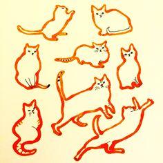 Cat Illustration by Marie Åhfeldt, Mås Illustra. www.masillustra.se #cat #pet #red #masillustra