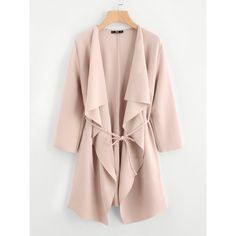 Waterfall Collar Pocket Front Wrap Coat ($6.99) ❤ liked on Polyvore featuring outerwear, coats, pocket coat, wrap coats, pink waterfall coat, waterfall coats and collar coat