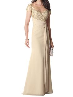 chiffon short sleeve floor length a-line mother of the bride dress with sheer neckline