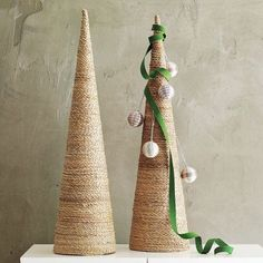 Cone Trees - styrofoam cone shape wrapped in twine and glued secure. so simple and versatile.