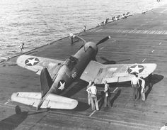 F4U-1 Corsair VF-10 aboard the USS Enterprise CV-6 on March 20, 1943 during carrier trials.