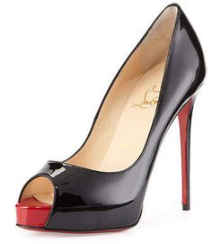 New Very Prive Patent Red Sole Pump, Black/Red by Christian Louboutin at Neiman Marcus. Peep Toe Pumps, Pumps Heels, High Heels, Stilettos, Manolo Blahnik Heels, Christian Louboutin Heels, Louboutin Shoes, Low Heel Shoes, Red Sole