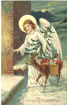 Antique EAS Christmas PC/Beautiful Angel Walks With Deer Carrying Baskets #Christmas