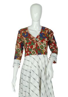 White Ikat and Kalamkari Angrakha Anarkali – Desically Ethnic