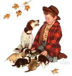 'A Boy and His Dog, Pride of Parenthood' - by Norman Rockwell