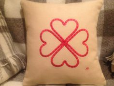 Heart flower homemade embroidery cushion by LMDSimplyBe on Etsy,