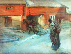'A Farmstead' - Carl Larsson  watercolour