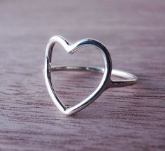 Sterling Silver Heart Ring Open Heart by Scape on Etsy