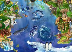 World Map Illustration detail: Atlantic Ocean and Antarctica by Maria Rabinky Birds Eye View Map, Cityscape Art, Map Design, Custom Map, Antarctica, Atlantic Ocean, Map Art, Illustration Art, Detail