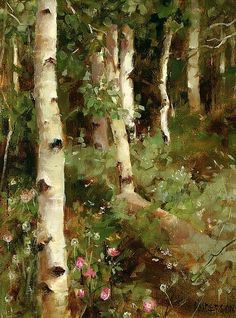 """Aspens and Mountain Roses"" by Kathy Anderson, oil / Greenhouse Gallery of Fine Art"