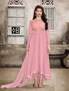 Sparky Pink Anarkali Salwar Suit - Explore Wide Range of Latest Designer Anarkali Salwar Suit Online in India @ YOYO Fashion.♥ Latest Frock Suit Designs ♥ COD ♥ New Anarkali Suit Designs. Indian Gowns Dresses, Indian Outfits, Flapper Dresses, Party Wear Dresses, Designer Anarkali Dresses, Designer Dresses, Designer Wear, Diwali Dresses, Anarkali Suits