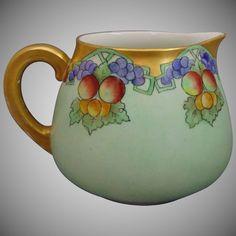 """Tressemann & Vogt (T&V) Limoges Arts &  Crafts Fruit Motif Cider/Lemonade Pitcher (Signed """"H.S. Maguire""""/c.1910-1930)"""