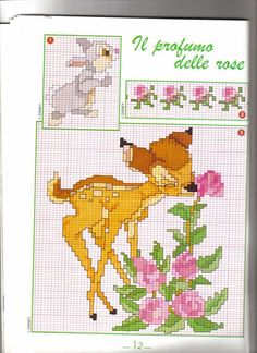 Baby Embroidery, Cross Stitch Embroidery, Cross Stitch Patterns, Cross Stitch Christmas Ornaments, Christmas Cross, Cross Stitch Cards, Cross Stitching, Bambi Disney, Minnie Baby