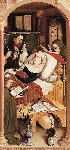 The Death of the Virgin, 1437, religious painting panel, 148 x 140 cm, by Hans Multscher, Germany, ph. detail.cr. via european-art findthedata | A journey through Medieval Life
