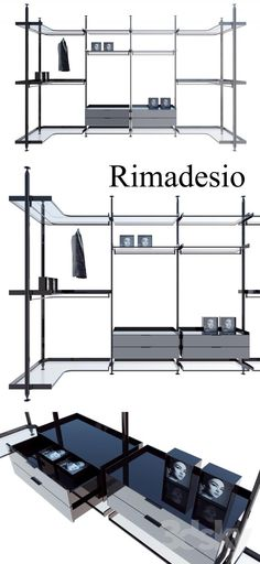 Rimadesio zenit system 02 living-rooms and walk-in closets, Kitchen, Wardrobe Display cabinets and storage,