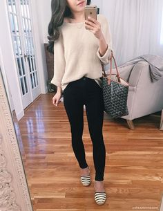 casual outfit idea // slouchy neutral sweater, black jeans, striped soludos espadrilles, goyard tote. Click the photo for the item details & reviews!
