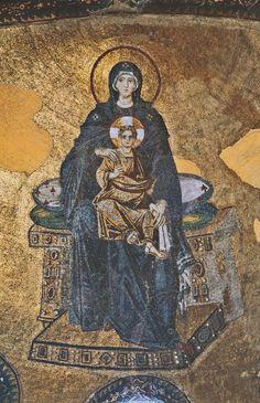 Byzantine Mother of God Enthroned, 867 Hagia Sophia, Istanbul, Turkiye Mosaic Madonna, Hagia Sophia Museum, Sainte Sophie, Art Through The Ages, Byzantine Art, Byzantine Mosaics, Mary And Jesus, Renaissance Paintings, Orthodox Icons