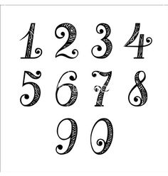 Vector Set of Vintage Numbers Poster Hand Lettering Alphabet, Doodle Lettering, Creative Lettering, Brush Lettering, Schrift Design, Hand Lettering Tutorial, Calligraphy Fonts, Number Calligraphy, Handwriting Fonts