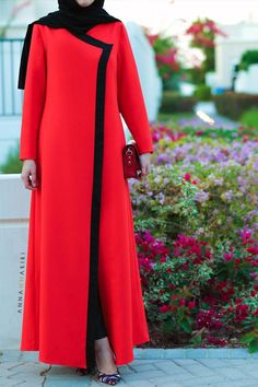 modern jilbabs islamic abaya online hijab style clothing clothing catalogues muslim clothes for sale red dress Abaya Fashion, Modest Fashion, Fashion Outfits, Fashion Wear, Muslim Women Fashion, Islamic Fashion, Mode Abaya, Abaya Designs, Muslim Dress