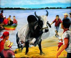 VENDIDO, dia de los toros tlacotalpan, BULL, fiestas de la Candelaria, TRADICION, arte mexico, oil paint, Veracruz by Jorge D. Espinosa