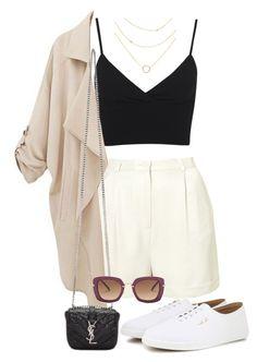 cropped preto com short branco de alfaiataria de cintura alta e tênis branco
