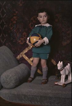 c. 1910. Autochrome photo, Little Lord Fauntleroy attire.