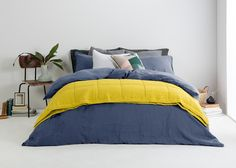 Brisa Double 100% Soft Washed Linen Bed Set, Blue Dusk from Made.com. Express delivery. Understated Cool..