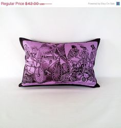 SALE Purple Posada Bikes Pillow Cover with by PillowandPocket, $37.80