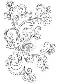 Sketchy Doodle Ornate Scroll Vector Drawing Stock Photo
