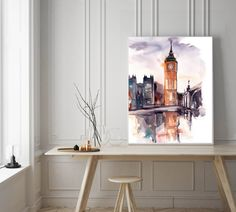 Big Ben art print, watercolor painting of London, cityscape painting art, watercolor print, modern wall art by CanotStopPrints on Etsy