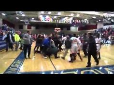Playoff High School Basketball Game Buzzer Beater Turns Into A Brawl. ( ...
