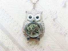 Silver Owl Necklace  STEAMPUNK OWL  Jewelry by by birdzNbeez, $26.00