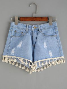 Shop Blue Ripped Tassel Trim Denim Shorts at ROMWE, discover more fashion styles online. Jeans For Short Women, Pants For Women, Clothes For Women, Jeans Women, Diy Shorts, Cute Shorts, Denim Fashion, Fashion Outfits, Summer Outfits