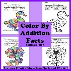 Using Color by Addition Facts is a great way to reinforce the learning with a different twist. The pages differ in difficulty and focus, but all are basic addition facts. Use them in a center, with a tutor, individual practice, or on Grandparents Day (Special Friends Day).