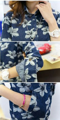 Women Denim Shirt Dress Floral