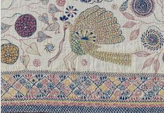 detail from antique kantha