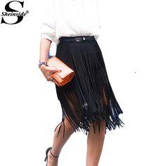 Sheinside Womens High Fashion Skirts 2015 Ladies Autumn Newest Brand Black High Waist Tassel A Line Knee Length Skirt