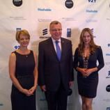 United Nations Office on Drugs and Crime (UNODC) Executive Director Yury Fedotov, UNODC Goodwill Ambassador for Human Trafficking Mira Sorvino, and Laurie Bolthouse, producer of the upcoming anti-trafficking feature film Trade of Innocents at the 2012 Social Good Summit.
