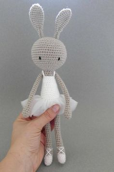Bunny ballerina crochet blanket dancer with tutu crochet handmade amigurumi ballerina Bunny, Bunny, grey and white Easter Crochet Patterns, Crochet Bunny, Crochet Patterns Amigurumi, Cute Crochet, Amigurumi Doll, Diy Crafts Crochet, Crochet Gifts, Crochet Toys, Stuffed Animals