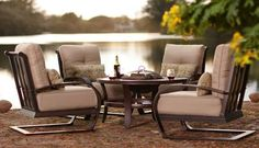 comfy outdoor furniture with fire pit!