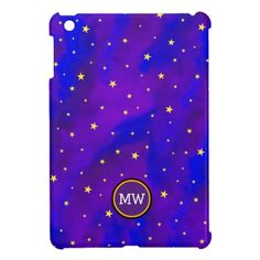 Sparkly Night Sky and Stars Christmas Monogram iPad Case from #ChristmasStore