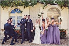 Purple bridesmaids for wedding | Image by Claire Penn Photography