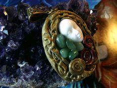 Goddess soul pendant with green aventurine gems by BOHORAINBO, $40.00
