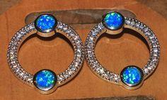 blue fire opal Cz earrings Gemstone silver jewelry chic modern stud style 0W #Stud