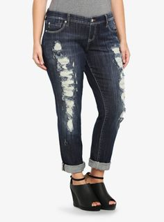 This is your most prized jean; it's the cool, casual Boyfriend fit you love with extreme destruction down the leg. The straight leg can be worn rolled up or down. Made from dark washed denim, this borrowed-from-him look is low maintenance, high style. <br>Handle the destruction detail gently, especially when laundering.