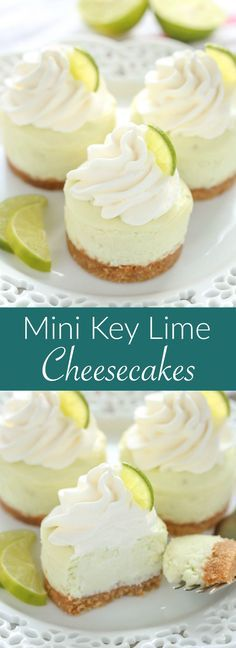 These Mini Key Lime Cheesecakes feature an easy homemade graham cracker crust topped with a smooth and creamy key lime cheesecake filling. The perfect dessert for any time of year! These Mini Key Lime Cheeseca Brownie Desserts, Mini Desserts, Just Desserts, Delicious Desserts, Key Lime Desserts, Jello Desserts, Easter Desserts, Lime Dessert Recipes Easy, Plated Desserts