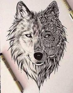 geometric wolf tattoo design - Google'da Ara                              …